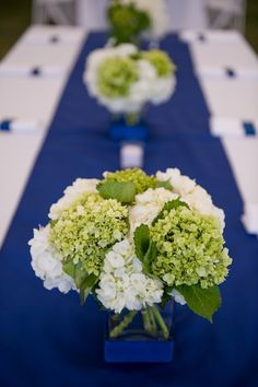 all hydrangea wedding centerpiece, square container, navy ribbon