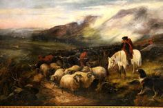 Scottish Highlands Paintings 18th Century | ... GARLAND Oil Painting Scottish Shepherd Dog Highland Steers Sheep