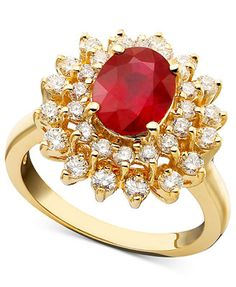 Royalty Inspired by EFFY Ruby (1-9/10 ct. t.w.) and Diamond (1 ct. t.w.) Oval Ring in 14k Gold