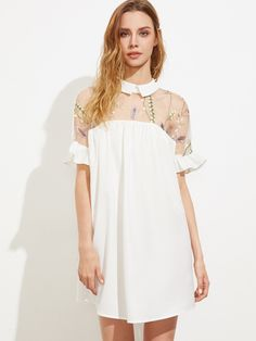 Shop Embroidered Mesh Yoke Tie Back Ruffle Sleeve Smock Dress online. SheIn offers Embroidered Mesh Yoke Tie Back Ruffle Sleeve Smock Dress & more to fit your fashionable needs.