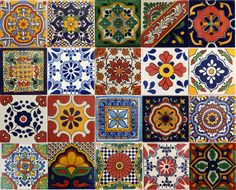 image of mexican ceramic tile | 20 PCS Talavera 6X6 Handmade Ceramic Tile Mexican MIX