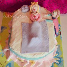 """If you dream a thing more than once, it's sure to come true"" sleeping beauty .. #sleepingbeauty #princess #sleepingbeautycake #prince #fairytale #disneyprincess #disney #pillow #bed #frills #blanket #boy #girl #crown #tiara #cape #cake #designercake #customisedcake #kidsparty #birthday #birthdaycake #atyummy"