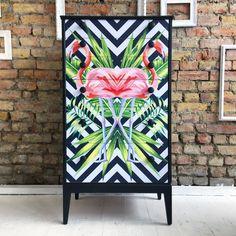 Geometric kaleidoscopic flamingo Decoupage chest of drawers.
