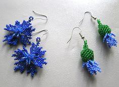 Beaded flower earrings cornflower set exclusive by Elinawonderland