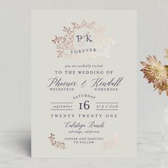 """""""Crested Monogram"""" - Foil-pressed Wedding Invitations in Ecru by Chris Griffith."""
