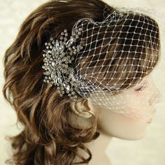 Classic Birdcage Veil, French Veiling, Wedding Bridal Veil, Bridal Bandeau, Vintage Wedding Bird Cage Veil, Available in White or Ivory -