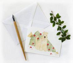 Irish Softcoated Wheaten Terrier Julkort  Fast i Julgranen