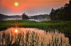 Pôr Do Sol, Lago, Paisagem, Verão