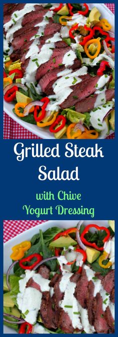 Grilled steak sliced over colorful greens, sweet bell peppers, avocado, and thinly shaved red onion. This steak salad is perfectly highlighted with a healthy, flavorful chive yogurt dressing. From @comfortdomestic