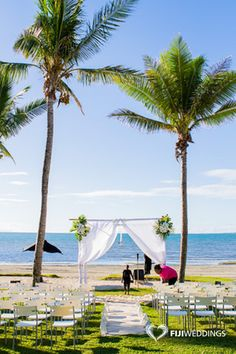 Beach Ceremony setup by Fiji Weddings www.fijiweddings.com