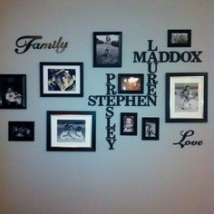 Family photo wall.  Love the scrabble themed family names!