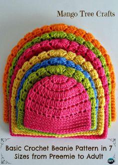 Crochet Beanie Hat Free Patterns Newborn To Adult All Sizes.