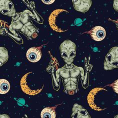 Halloween 2021 vector pattern design with martians, croissants and eyes. Vector Pattern, Pattern Design, Mission Projects, Mission To Mars, Vintage Space, Croissants, The Martian, Apparel Design, Badge