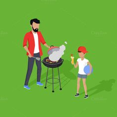 Father and Son Preparing Barbecue @creativework247