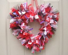 Valentine Heart Ribbon and Fabric Wreath from aworkofheartsa.etsy.com