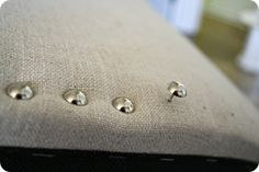 to add nailhead trim, totally adding these to my new chairs for my living room table set! So cute, great way to customize furniture Furniture Projects, Furniture Makeover, Home Furniture, Furniture Outlet, Western Furniture, Furniture Stores, Diy Projects, Living Room Table Sets, Parsons Dining Chairs