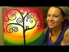 How To Paint A Swirly Tree and Love Birds. A vibrant beautiful painting for novice artists using acrylics.