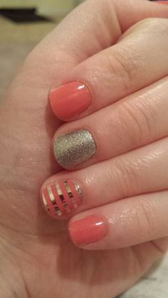 Get this look with Jamberry nail wraps!  Shown here: Grapefruit layered with Metallic Silver Stripe and a Diamond Dust Sparkle accent nail.