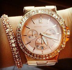 b00d3ce645b1 NWT New Michael Kors Women Oversize Dylan Rose Gold Glitz Watch rose gold  michael kors watch
