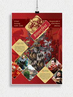 Poster, Flyer und Plakate fuer Mittelalter, Ritterspiele und Märkte