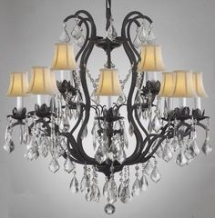 Swarovski Crystal Trimmed Chandelier Wrought Iron Crystal Chandelier Lighting With Shades - A83-Whiteshades/3034/8+4 Sw
