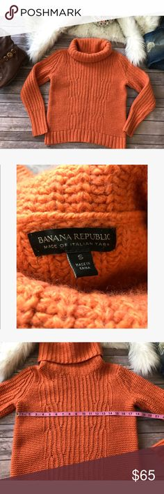 💗Beautiful Banana Republic warm sweater💗 💗Beautiful Banana Republic warm sweater made with Italian yarn very soft and gorgeous peachy orange color perfect for fall in size S please see pics with measurements 💗 Banana Republic Sweaters