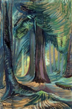 Emily Carr - a great Canadian painter and one of the first Canadians to adopt a . Emily Carr - a g Canadian Painters, Canadian Artists, Emily Carr Paintings, Group Of Seven Paintings, Impressionist Artists, Tree Art, Landscape Art, Landscape Paintings, Art Images