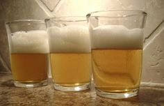 A neat row of tasty home made beer. Our first try and it tastes amazing!
