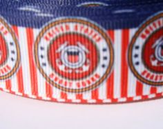 Sold by the yard or US Coast Guard 1 inch flatback buttons Military Ribbons, Us Coast Guard, Printed Ribbon, Headband Hairstyles, Grosgrain, Hair Bows, Headbands, United States, Yard