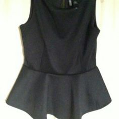Bisou  black peplum top Black stretch peplum top. Cute with jeans or part of your office wardrobe. Bisou Bisou Tops