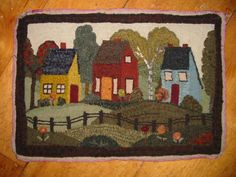 Popular Folk Embroidery Little Town – Searsport Rug Hooking - Probably our most popular design! Finished size is Folk Embroidery, Learn Embroidery, Embroidery Patterns, Rug Hooking Designs, Rug Hooking Patterns, Rug Patterns, Penny Rugs, Colchas Quilting, Latch Hook Rugs