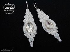 Kolczyki ślubne sutasz DELISO- kryształy- białe -tył bez filcu - mela. $26