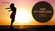 Woman Enjoys Sunset-Nature PPT Templates