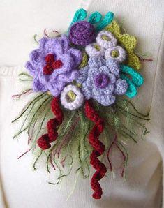 crochet purple flower brooch by meekssandygirl, via Flickr