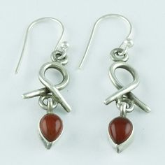 CARNELIAN STONE HIGH QUALITY EARRINGS 925 HANDMADE STERLING SILVER  #SilvexImagesIndiaPvtLtd #DropDangle