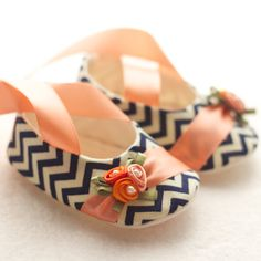 Baby Shoes, Free Personalization, Navy Chevron with Peach and Orange Details. $41.00, via Etsy.