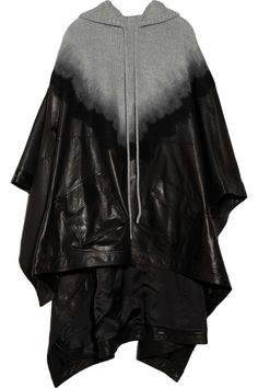 Alexander Wang Hooded leather-paneled wool poncho
