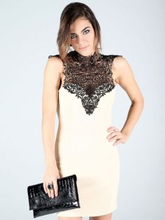 Damas Dresses Under $100 - Nude Dress With Lace Neckline