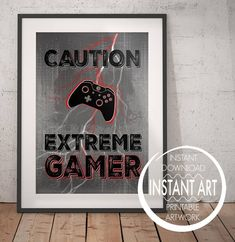 Caution Extreme Gamer Red - - in a row of three in black frames opposite bed