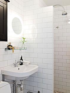 "The tiling, the design of the shower space, all of it is inspiring - ""Litet badrum i lantlig industriell stil"""