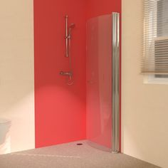 Hinged wet room screens which can fold back to the wall for more space in your bathroom.