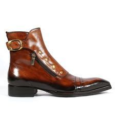 Jo Ghost Italian Mens Shoes Playo Inglese Tabacco Brown Leather Boots (JG2102)