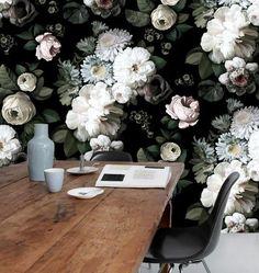 papier peint fleur fond noir