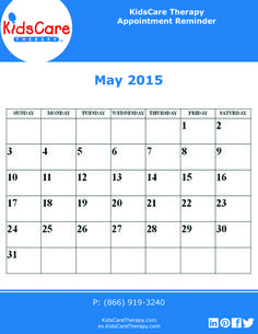 Use this May 2015 editable PDF calendar to plan out your Speech, Physical, or Occupational therapy for the month!