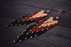 Beaded fringe earrings, Seed bead earrings, native inspired jewelry, boho earrings, hippie earrings, gypsy earrings, beige brown black