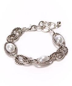 Silver & Pearl Chain-Link Lobster Clasp Bracelet