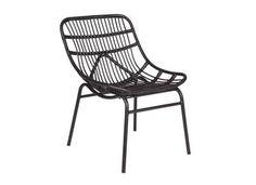chaise lounge design rotin synthtique noir kitten