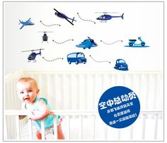 Cartoon helicopter car wall stickers for kids room environmental protection wall decals nursery wallpaper for baby room