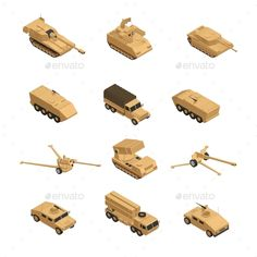 Buy Military Vehicles Isometric Icon Set by macrovector on GraphicRiver. Military vehicles isometric icon set in beige tones for warfare and training in the army vector illustration. Military Robot, Military Units, Military Art, Army Police, Military Tactics, Military Personnel, Military Vehicles, Isometric Art, Isometric Design