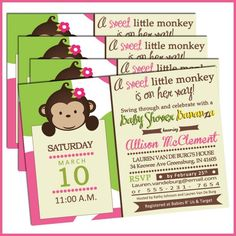 Girl Monkey Baby Shower Invitations Pink and Green Monkey Baby Shower | lullabyloo - Cards on ArtFire